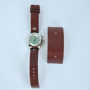 Womens Fossil Big Tic Love Analog Leather Watch